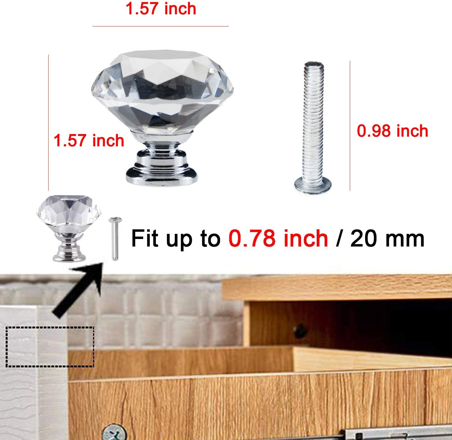 40 mm, 12 Pack, Silver YourGift 12 Pack Drawer Knobs Diamond Shaped Crystal Glass 40mm Cabinet Knobs Pull Handles
