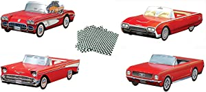 Dunwoody Specialty Sales, 12 Red Classic Car Party Food Containers- This ALL RED Collection includes 4 Styles of Customers' FAVORITES (3 of each Style), Great Centerpieces, Party decorations & much more!!