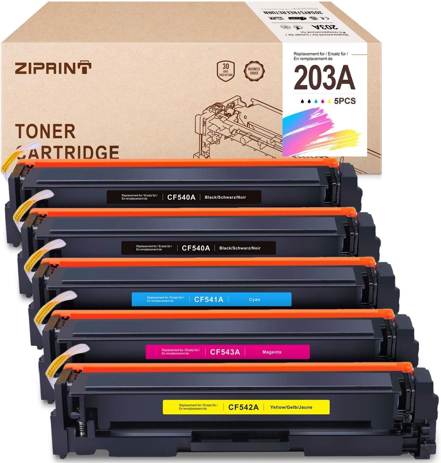 Ziprint 5 Multipack Kompatibel Hp 203a Hp Cf540a Cf541a Cf542a Cf543a Toner Für Hp Color Laserjet M281fdw M281fdn Laserjet M254dw M254nw Laserjet M280nw Bürobedarf Schreibwaren