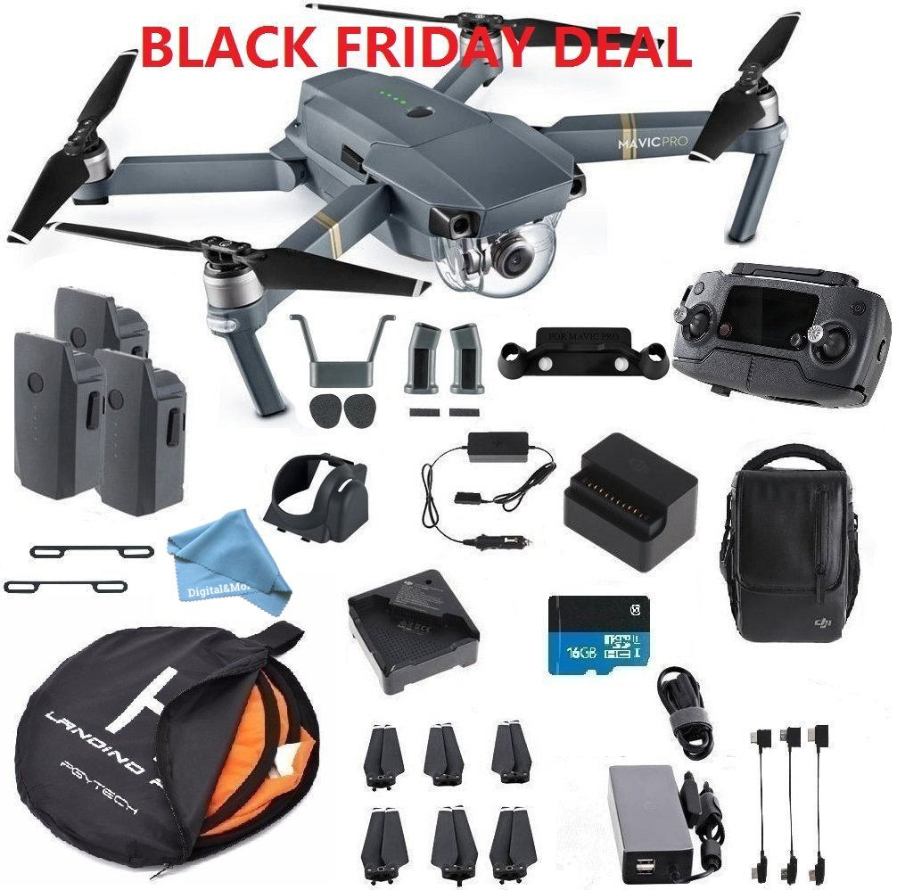 DJI Mavic Pro Fly More Combo Safety Bundle, extra 80 cm Portable landing pad and DigitalAndMore Lens Hood, Landing Gear and More (Black Friday / Cyber Monday Deal!) by DigitalAndMore