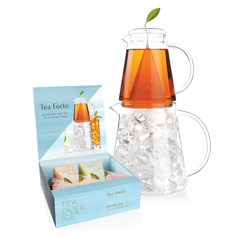 SetTEE AUF EIS zur Zubereitung von Eistee von Tea Forté, mit Kannen, Teesieb für Eistee und Probierset mit 5 Verschiedenen Teemischungen Tea Forte