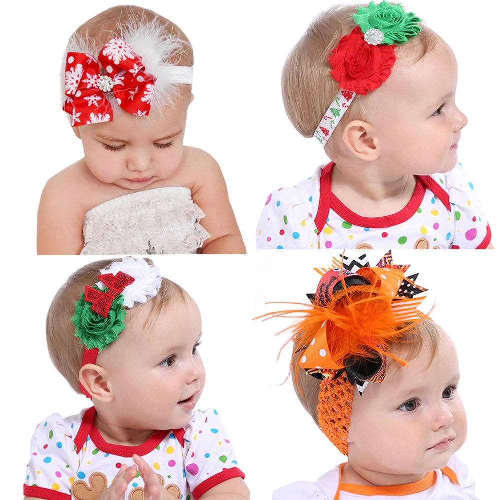 Handmade Knitted Baby Headbands Girls Clip Newborn Bow Infant Toddler Gift