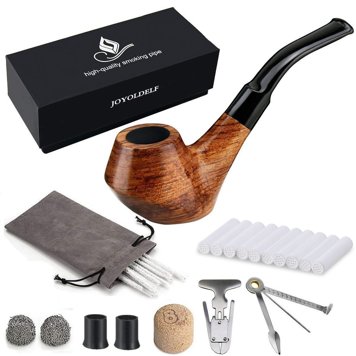 Joyoldelf Creative Wooden Smoking Pipe Set with Gift Box, Rosewood Pipe with Pipe Cleaners and Other Smoking Accessories XX027