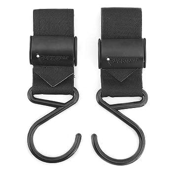 Black Stroller Hook Adjustable Multi Purpose 2 Pack Hook Clips Hanger for Diaper Bags Purse Clothing