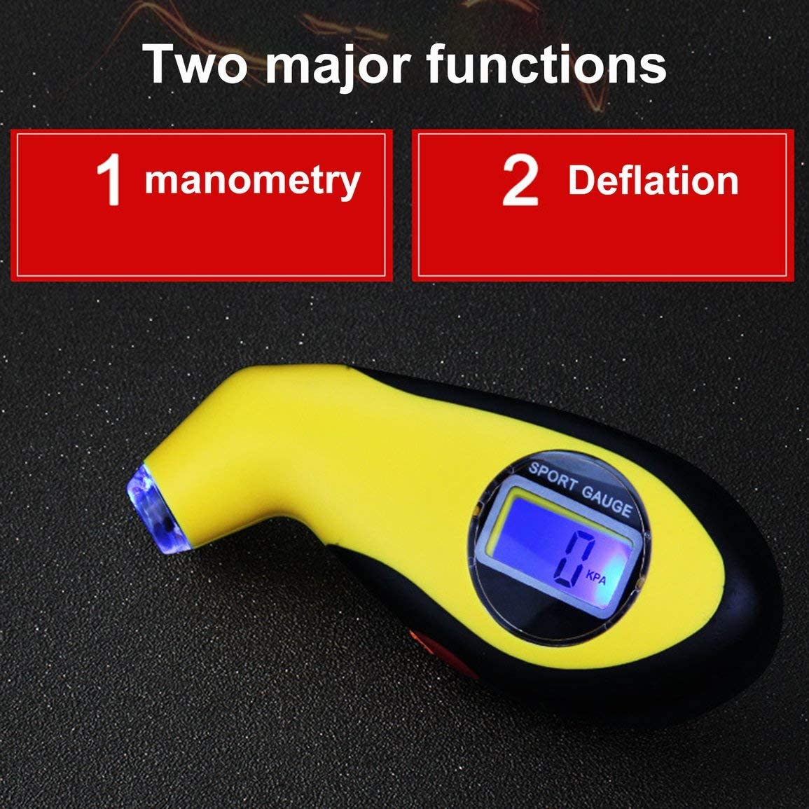 Color:Yellow /& black Garciakia Car Electronic Digital LCD Tire Pressure Gauge Meter 0-100 PSI Backlight Tyre Manometer Barometers Tester Tool