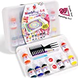 TBC The Best Crafts 33pcs Marbling Art Paint Kit, Value Bundle Marble Art Pack, 8 Marbling Inks(53ml Each), Painting on…