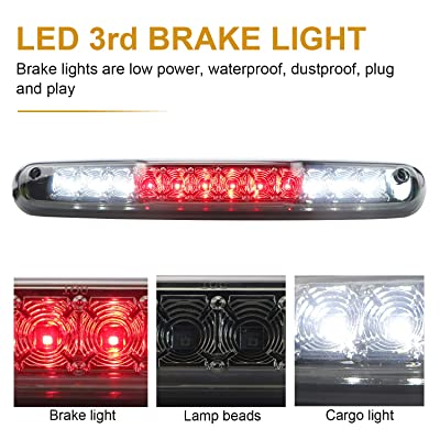 Rear Roof Center LED Third 3rd Brake Cargo Light Assembly High Mount Brake Tail Light Replacement for 2007-2013 Chevy Silverado/GMC Sierrra (Chrome Housing Smoke Lens): Automotive