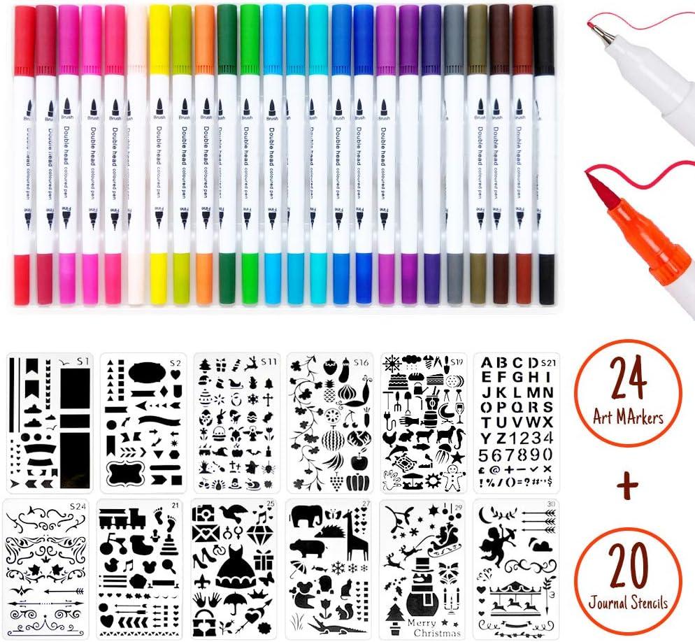 Dual Tip Brush Marker Pens Pens 44 PCS Journal Stencils and Journal Pens Set