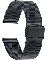 TRUMiRR 18mm Uhrenarmband Mesh Edelstahl Metallarmband für Huawei Uhr 1./Fit Ehre S1, ASUS Zenwatch 2 Damen 1.45 '' WI502Q, Withings Activite/Pop/Stahl HR 36mm,Fossil Q Tailor,36mm Daniel Wellington
