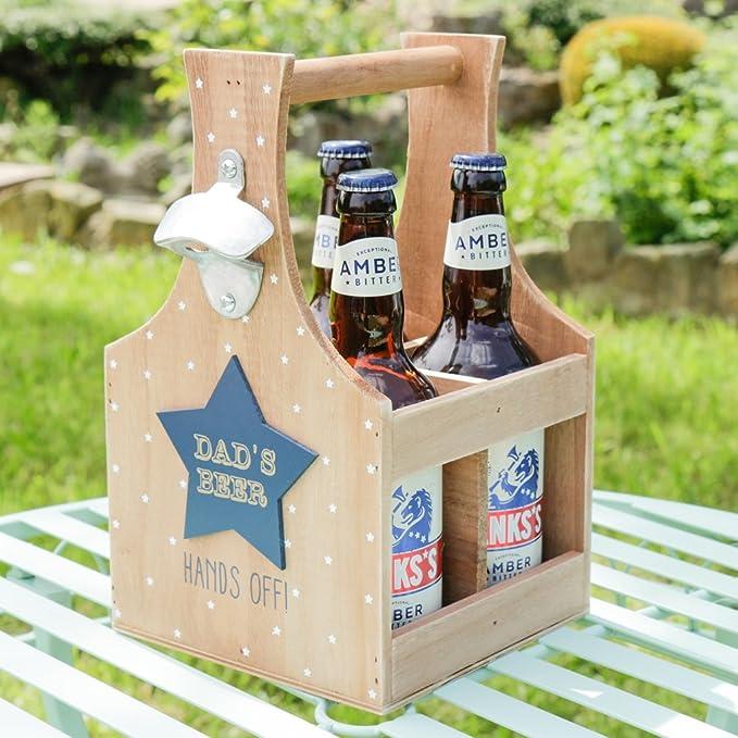 Dads una estrella de madera caja con abridor de botella de cerveza. – un gran regalo para cumpleaños, aniversario, Navidad, o especial occastion. – H30 X W18 x D18 cm: Amazon.es: Hogar