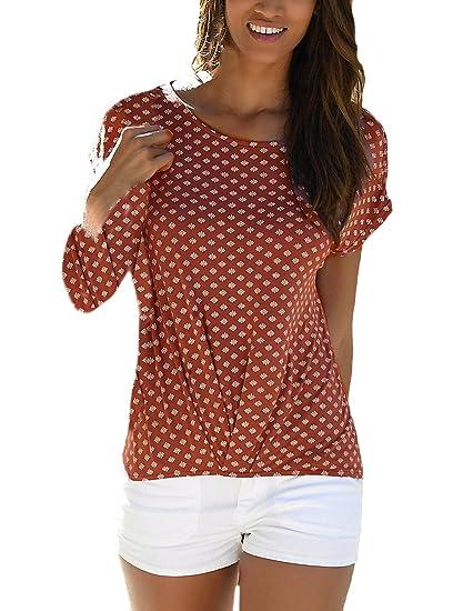 Tops Mujer Verano Basicas Manga Corta Cuello Redondo Flores Estampado Camisetas Vintage Casual Camiseta T Shirt Blusas Señora Moda Fiesta: Amazon.es: Ropa y ...