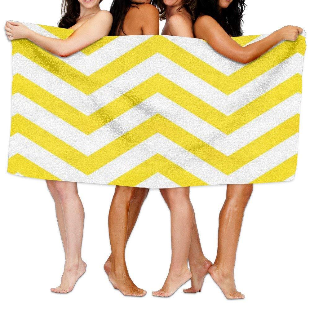 Beach Blanket Yellow Chevron Inspiring Microfiber Absorbent Print Pool Towel
