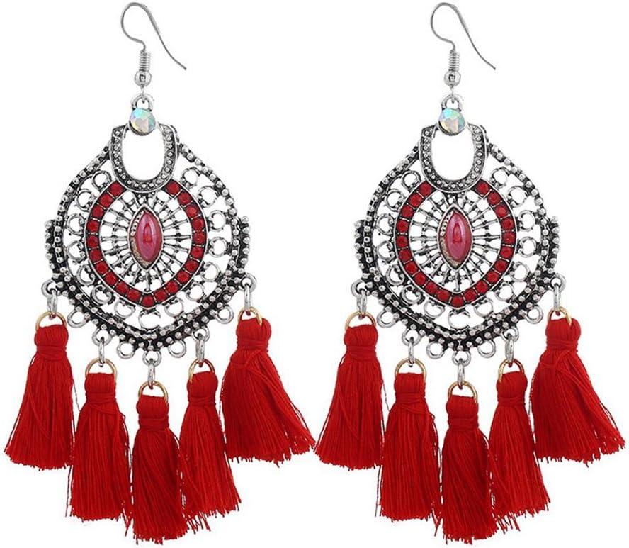 Emorias 1Pair Pendientes Vintage de Diamantes Estilo Nacional Piedras Preciosas Borla Pendiente de Perno Pendientes de Mujer de Moda Joyería Accesorios - Rojo