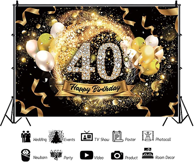 DORCEV 7x5ft Happy 40th Birthday Backdrop for Happy Forty Years Old Age Birthday Party Background Shining Glitter Gold Spots Black and Gold Party Banner Wallpaper Adults Portraits Photo Studio Props