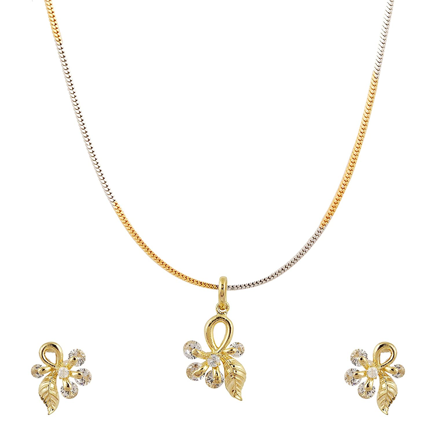 Buy D A V Jewels Fancy Gold Plated Pendants Earrings Set For Women Girls Without Chain At Amazon In