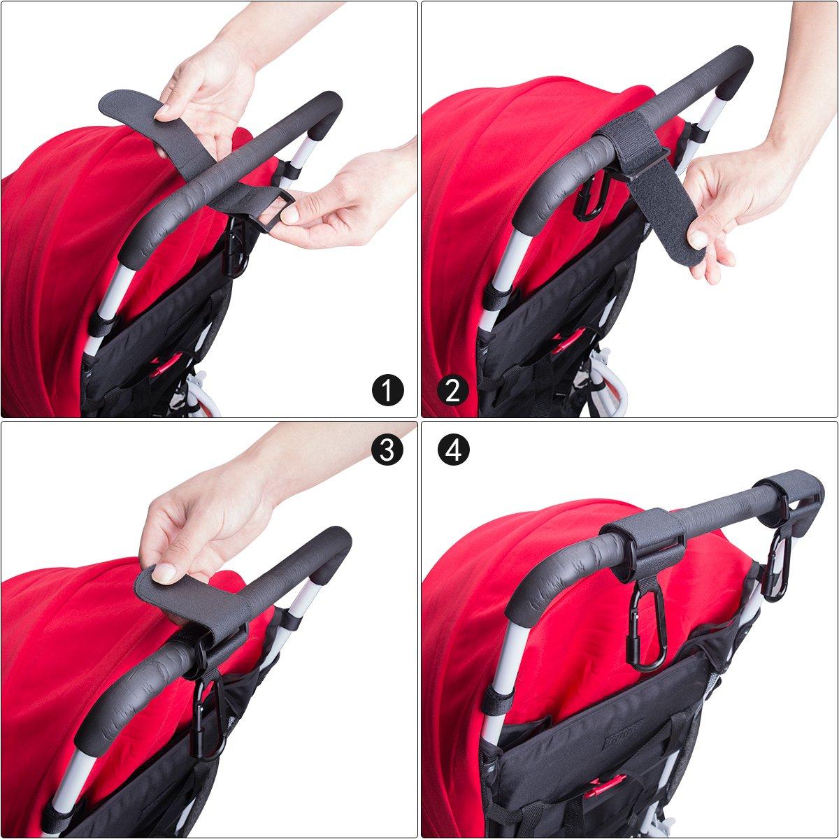 Stroller Hook Set, Pack of Handy Pram Hook Buggy Hanger Clip + Stroller Net Bag for Baby Diaper Bags Groceries Clothing Purse Stroller Accessories Kit Hangs for Jogging Walking/Shopping by fantaseal (Image #6)