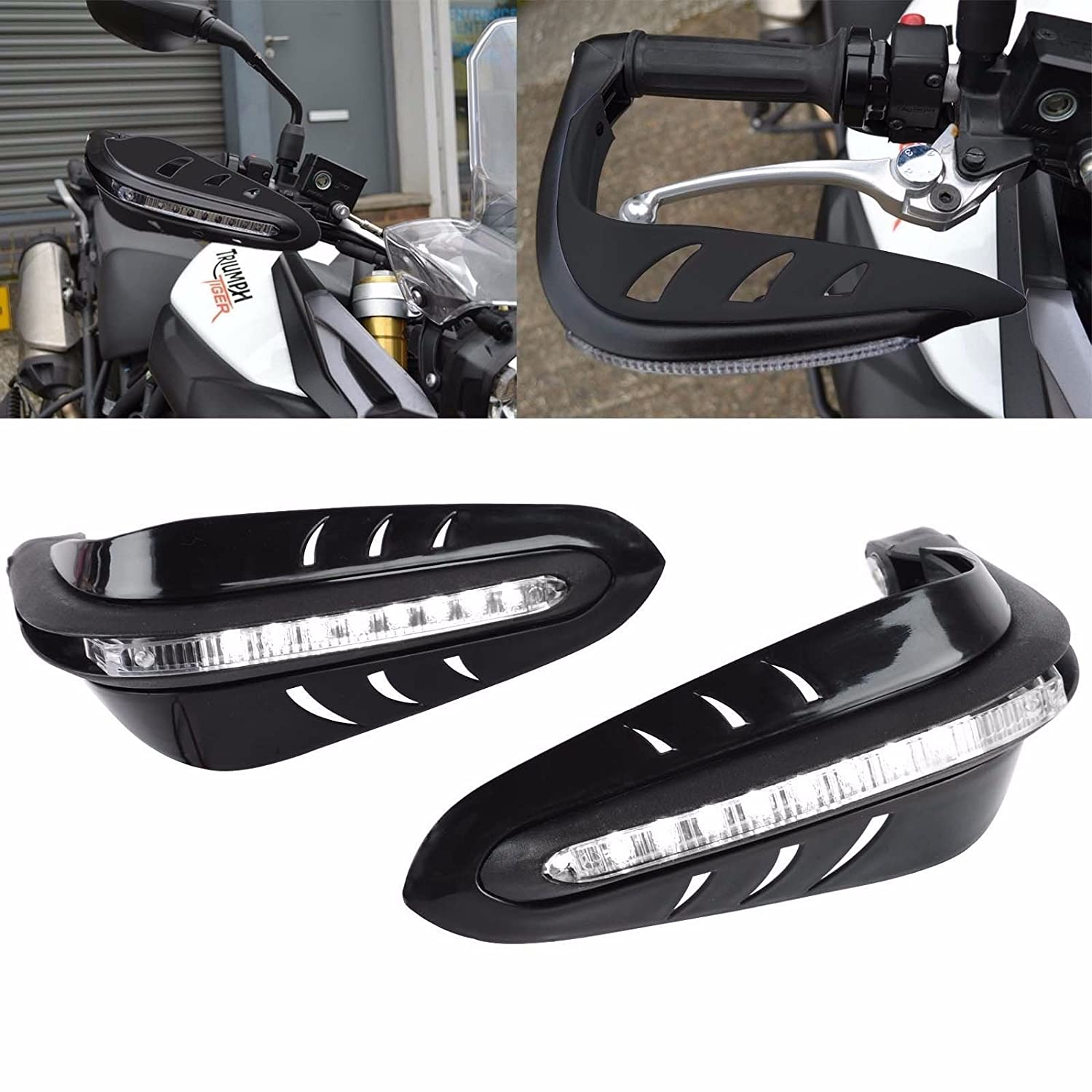 League & Co Protection Motorcycle LED Integrated Indicators For Handle Plastic Universal 22  mm 7/8  'Handlebar (Black) LEAGUE&CO
