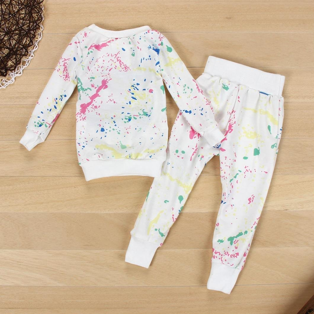 Cute Baby Boys Girls Sweatshirt Printted Tops and Long Pants Outfits Autumn Winter Clothes Clode for 2-7 Years Old Girls