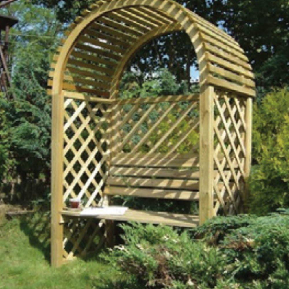 Evergreen Pergola de madera con banco L135 X P80 x H200 CM arredo externo eg51768: Amazon.es: Jardín