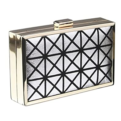 dcfcf7973844 Square Shaped Hard Metal Box Clutch Evening Trendy Designer Bag (Silver):  Amazon.co.uk: Shoes & Bags