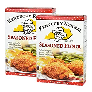Kentucky Kernel Seasoned Flour 10 oz Two Pack (20 oz total) - Seasoned Flour for Coating Chicken, Chops, Beef, Seafood, Veggies - Two 10 oz Boxes - Blend of Flour and Savory Spices