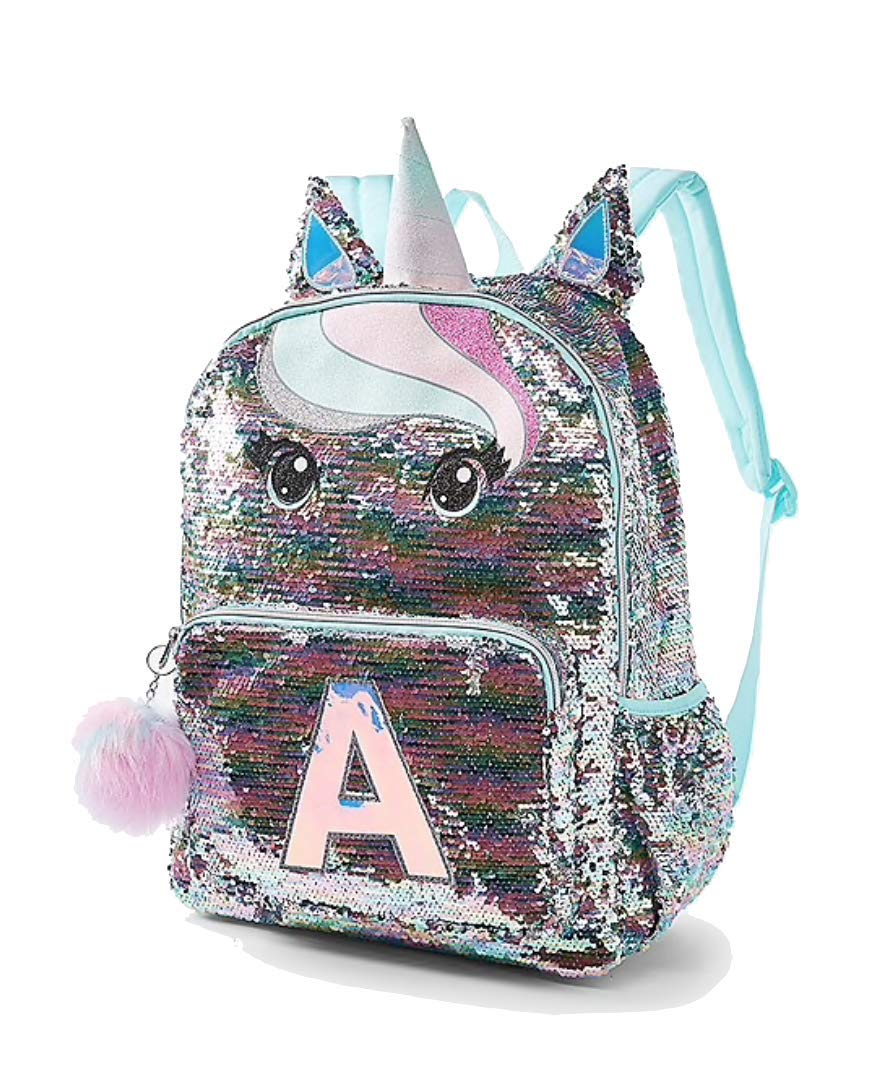Justice School Backpack Flip Sequin Pastel Unicorn Initial Letter A