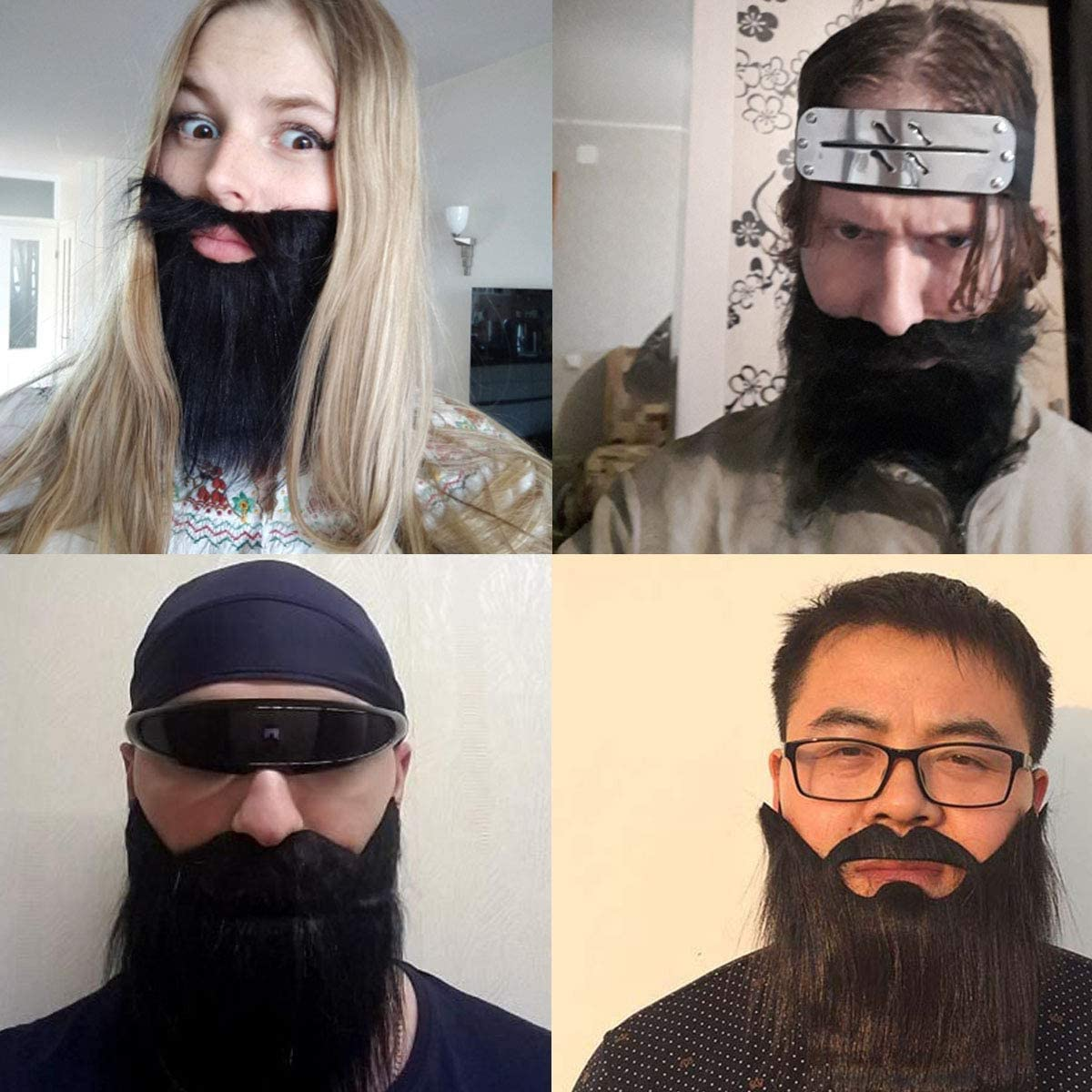 Halloween Party Fake Beard, Funny Full Beard with Mustache for Costume Party, Black