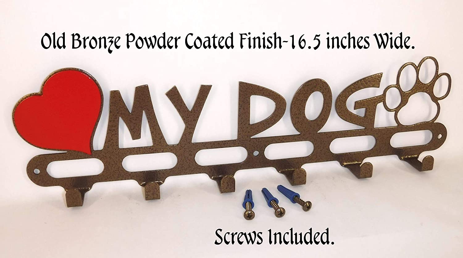 Dog leash Hook Hanger Holder. I Love my Dog. Old Bronze Color. Handmade in USA. Screws Included.