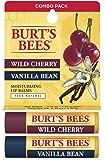 Burts Bees Wild Cherry and Vanilla Bean Moisturizing Lip Balm Twin Pack, 2 count
