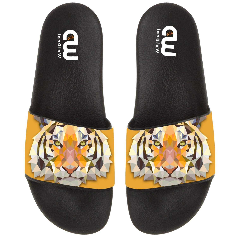 Cartoon Triangle Tiger Design Summer Slide Slippers For Men Women Kid Indoor Open-Toe Sandal Shoes