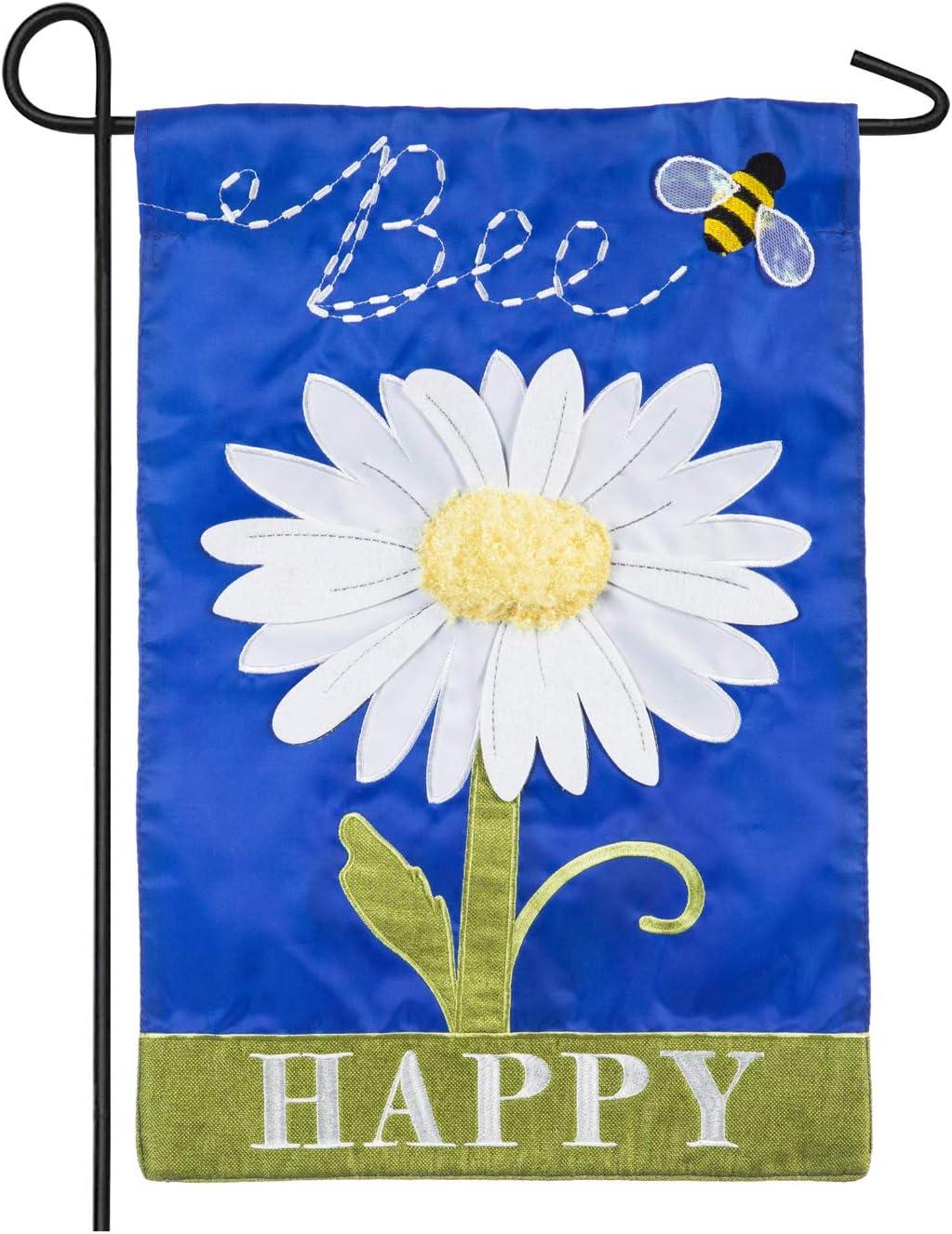 Evergreen Flag Bee Happy Daisy Garden Applique Garden Flag - 12.5 x 18 Inches Outdoor Decor for Homes and Gardens