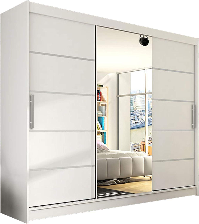 Modern Sliding Door Wardrobe Aston Vi With Mirror 250 X 215 X 58 Cm Wardrobe Bedroom Sliding Door Cabinet Bedroom Cabinet White Amazon De Home Kitchen