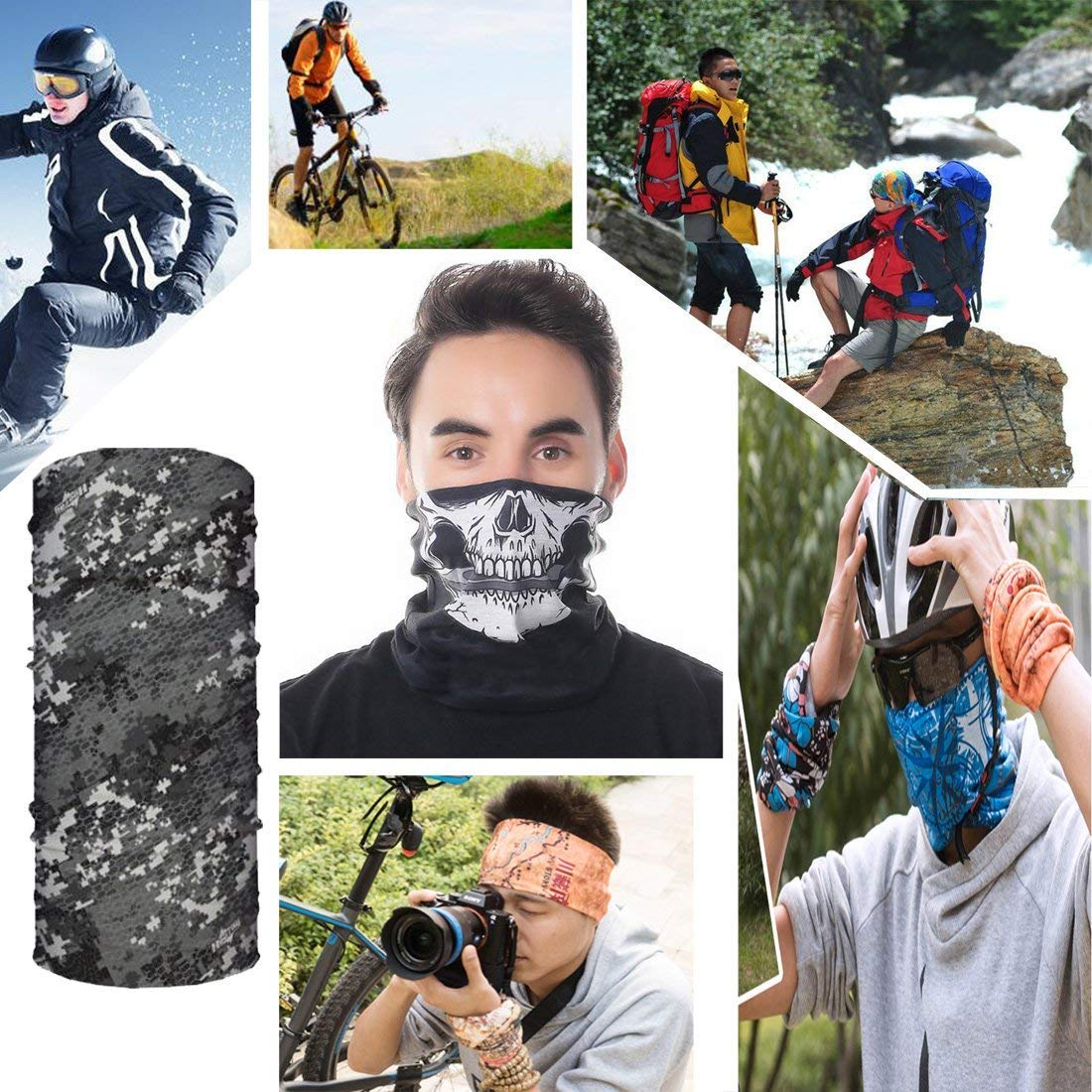 Outdoor Seamless Multi-Purpose Magic Scarf Elastic Headband Gaiter Balaclava for Riding Topren High Elastic Magic Headband Bandanas Motorcycling Fishing and Other Outdoor Activities Hiking