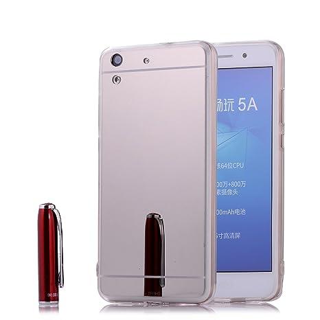 Funda Espejo Huawei Y6 II / Y6 2, 2ndSpring Huawei Y6 II / Y6 2 Bumper Shock y Anti-Arañazos Gel Silicona TPU Carcasa Mirror Case Cover para Huawei Y6 ...