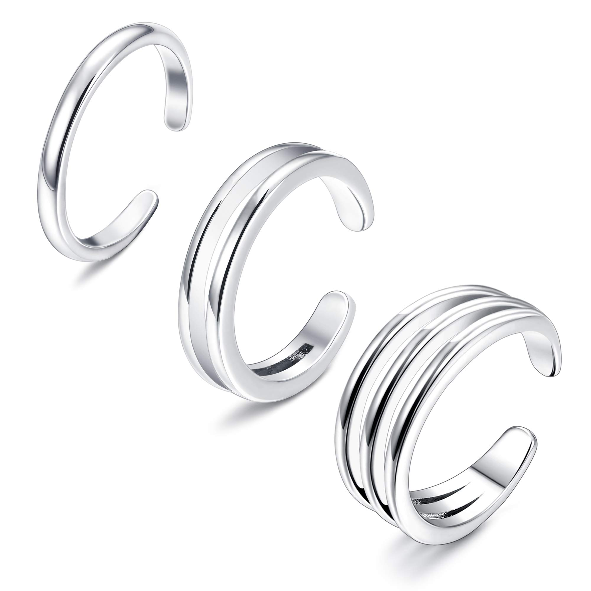 Sllaiss 925 Sterling Silver Minimalist Toe Rings Set Simple Open Thin Band Ring Adjustable for Women Girls by Sllaiss