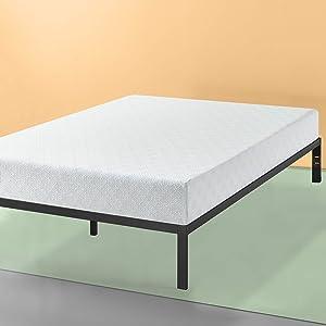 Zinus Set, King 12 Inch Gel-Infused Green Tea Memory Foam Mattress and Mia Platform Bed Frame / Mattress Foundation