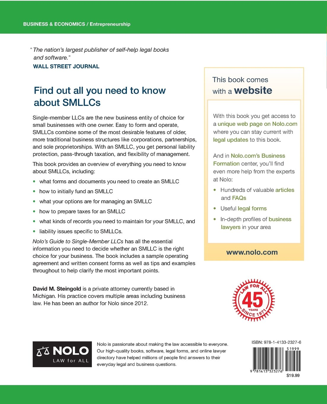 Nolo's Guide to Single-Member LLCs: How to Form & Run Your Single-Member  Limited Liability Company: David M. Steingold Attorney: 9781413323276:  Amazon.com: ...
