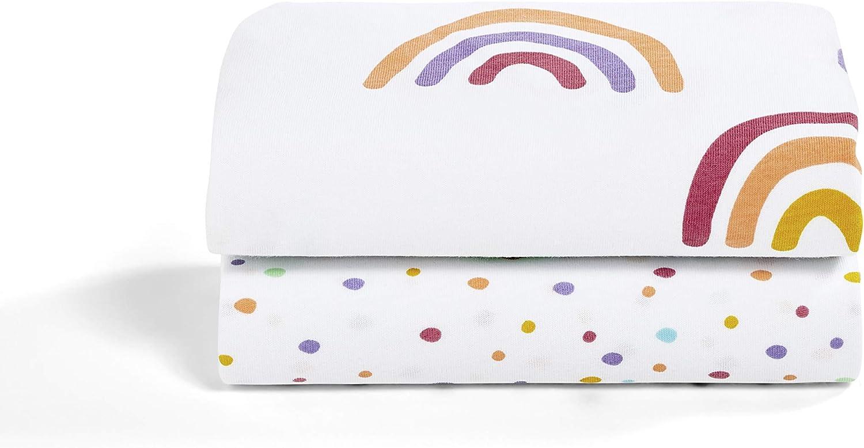 multicolor S/ábana bajera ajustable para cuna 280 g dise/ño de arco iris Snuz