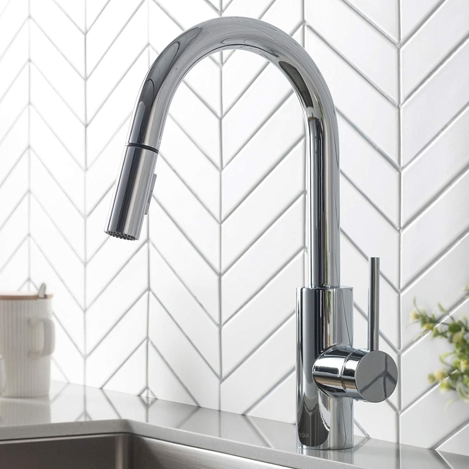 KRAUS Oletto Single Handle Pull Down Kitchen Faucet in Chrome Finish