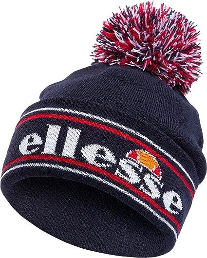 e1672cdcd6d0c0 ellesse Monza Cuffed Logo Bobble Beanie Hat Navy: Amazon.co.uk: Clothing