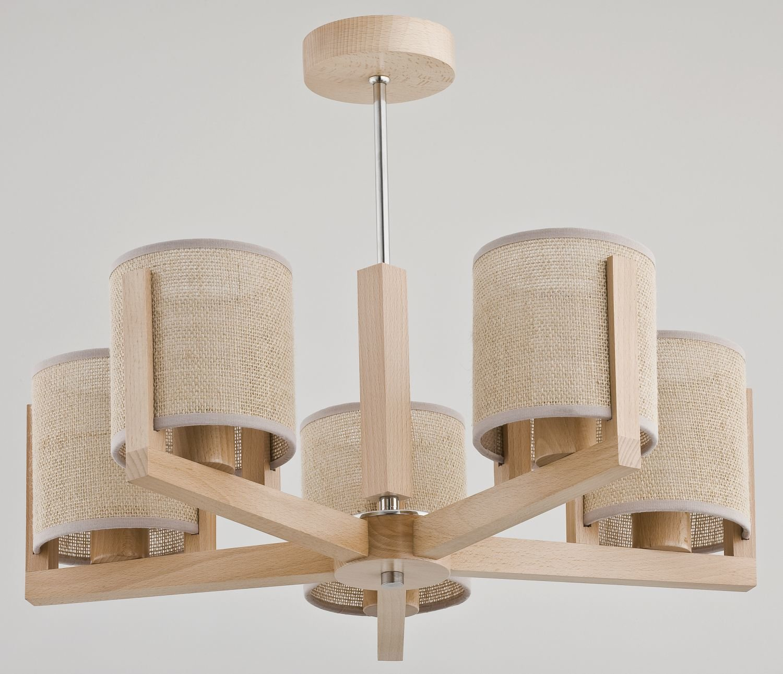 Bauhaus - Lámpara de techo (5 focos E14 Cilindro Madera ...