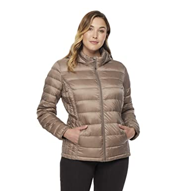 47fe6a4035b43 Amazon.com  32 DEGREES Women Plus Size Ultra Light Hooded Down ...