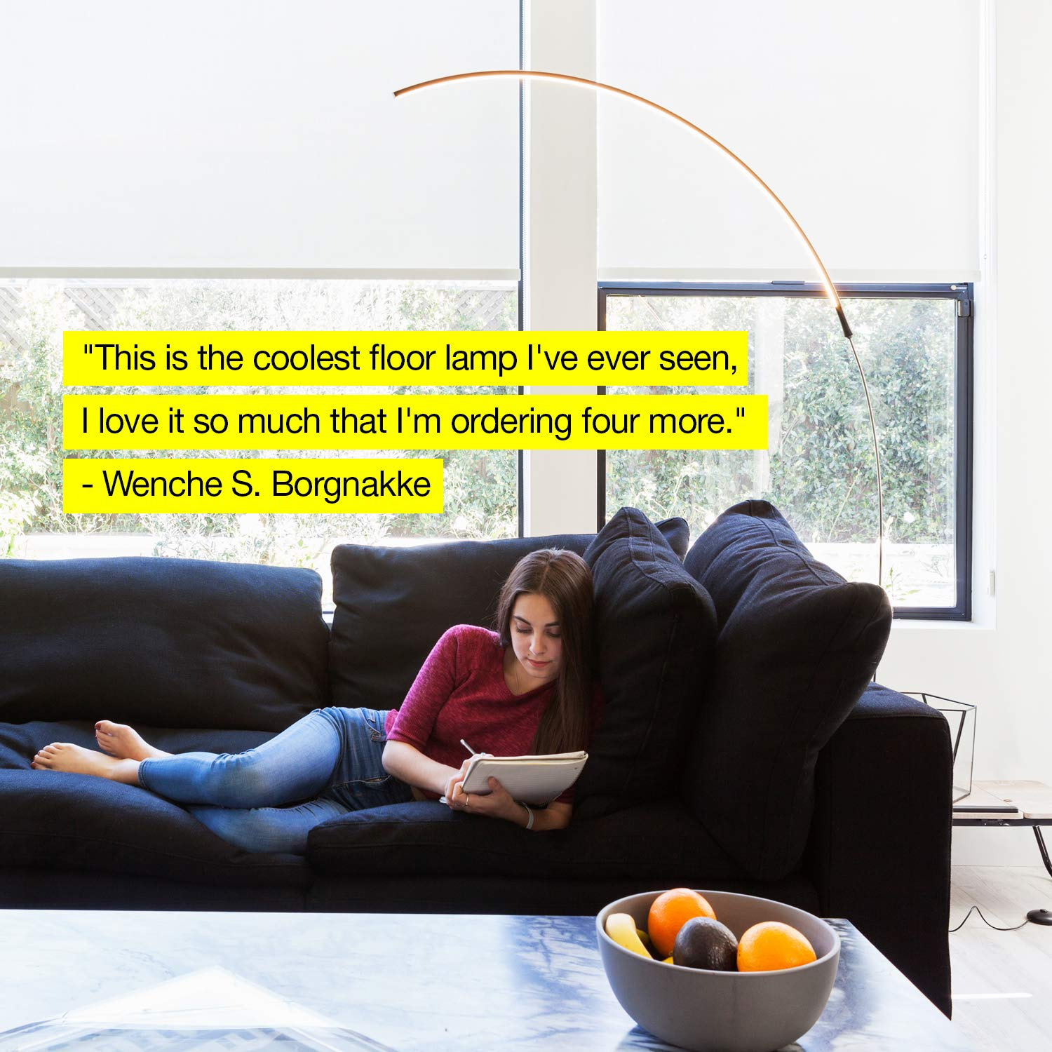 Brightech Sparq Arc LED Floor Lamp - Bright Standing Lamp for Living Room - Modern Arched Light for Behind the Couch - Dimmable Pole Lamp- Silver by Brightech (Image #4)