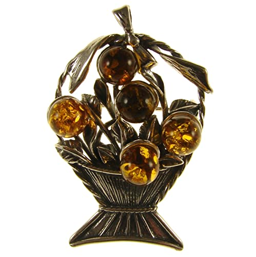 SA Brooches Baltic Amber and Sterling Silver 925 Cognac Butterfly Brooch pin Jewellery Jewelry