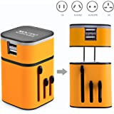 MOCREO® Detachable Universal World Travel Charger All-in-one UK/EU/US/AUS Plugs Safety World Travel Adapter 3200mA Dual USB Ports World Travel Charger (US Plug USB Wall Charger + Universal Travel Charger) (Yellow )