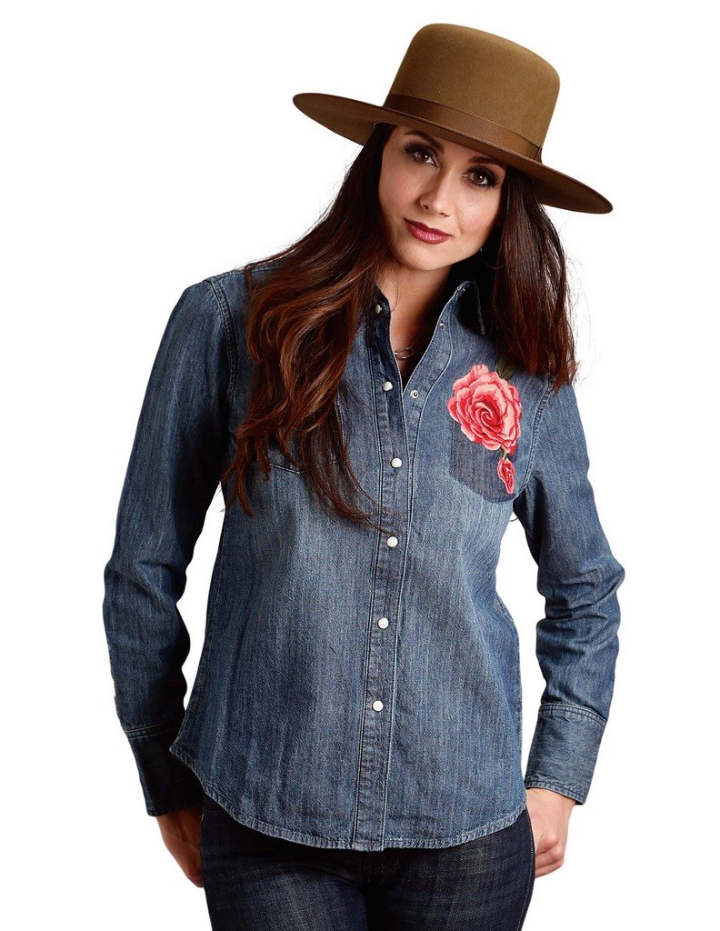 Stetson Women's Boyfriend Fit Western Shirt 60z Blue X-Small