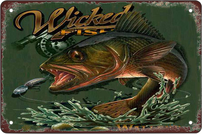 Wicked Fish Walleye Funny Bar Wall Decor Home Decor Retro Sign Wall Decor Tin Sign 12 X 8 Inches