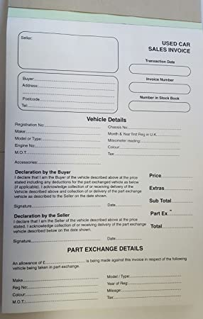 Used Car Sales Invoice Pad /& Trade Sale Pad For Buying /& Selling Motor Vehicles