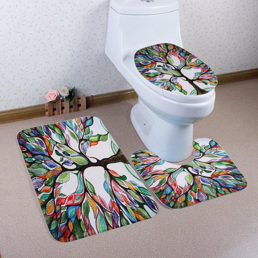 Wiorigin Bath Mat,Tree of Life Bathroom Carpet Rug,Non-Slip 3 Piece Bathroom Mat Set Mats/_11