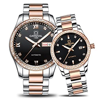 2dd16400ed146 Amazon.com  His and Her Watches Automatic Stainless Steel Couple Watches  Women Men Watch Lover s Gift Clock Boys Girls Wristwatch (Rose Gold Black)   Watches